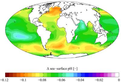 Cambio en el pH de la superficie marina causado por el CO2 antropogénico entre los años 1700 y 1990