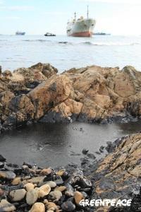 El vertido del Sierra Nava. Bahía de Algeciras. Enero 2007 | Foto: Pablo Sánchez